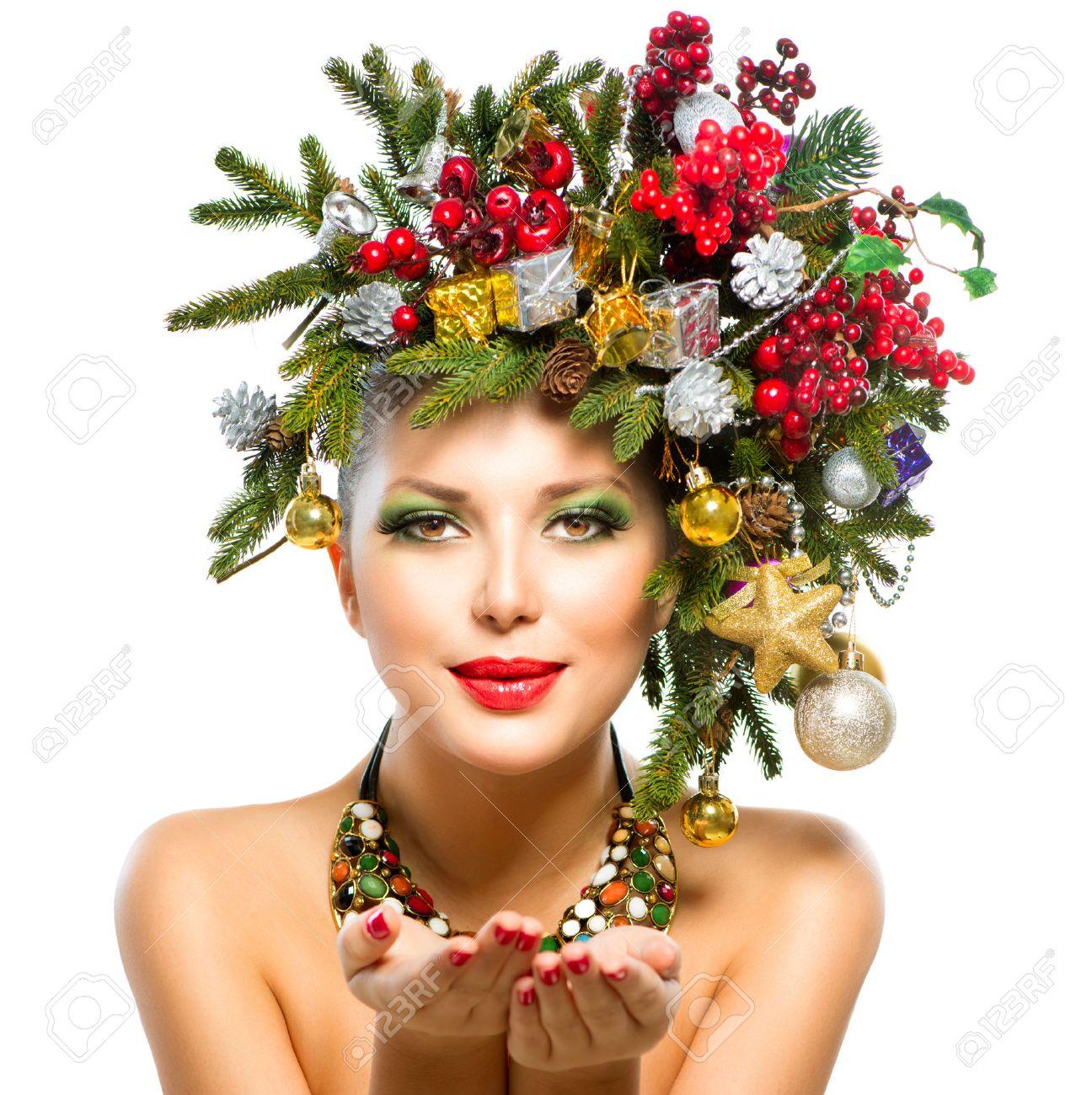 Christmas Woman Christmas Tree Holiday Hairstyle And Makeup Stock ...