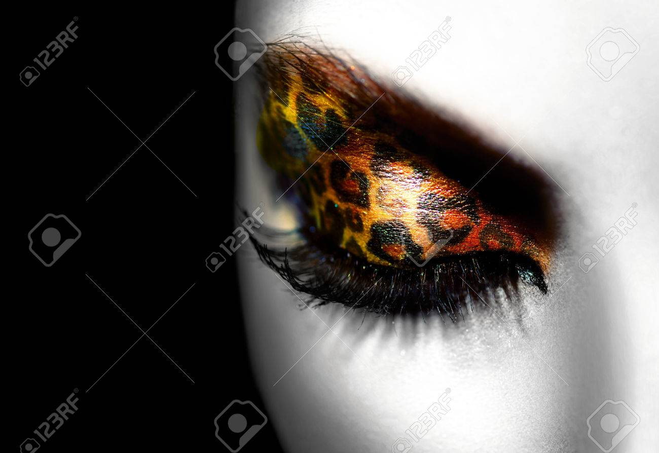 Beauty Fashion Model Girl with Holiday Leopard Makeup Stock Photo - 24919028