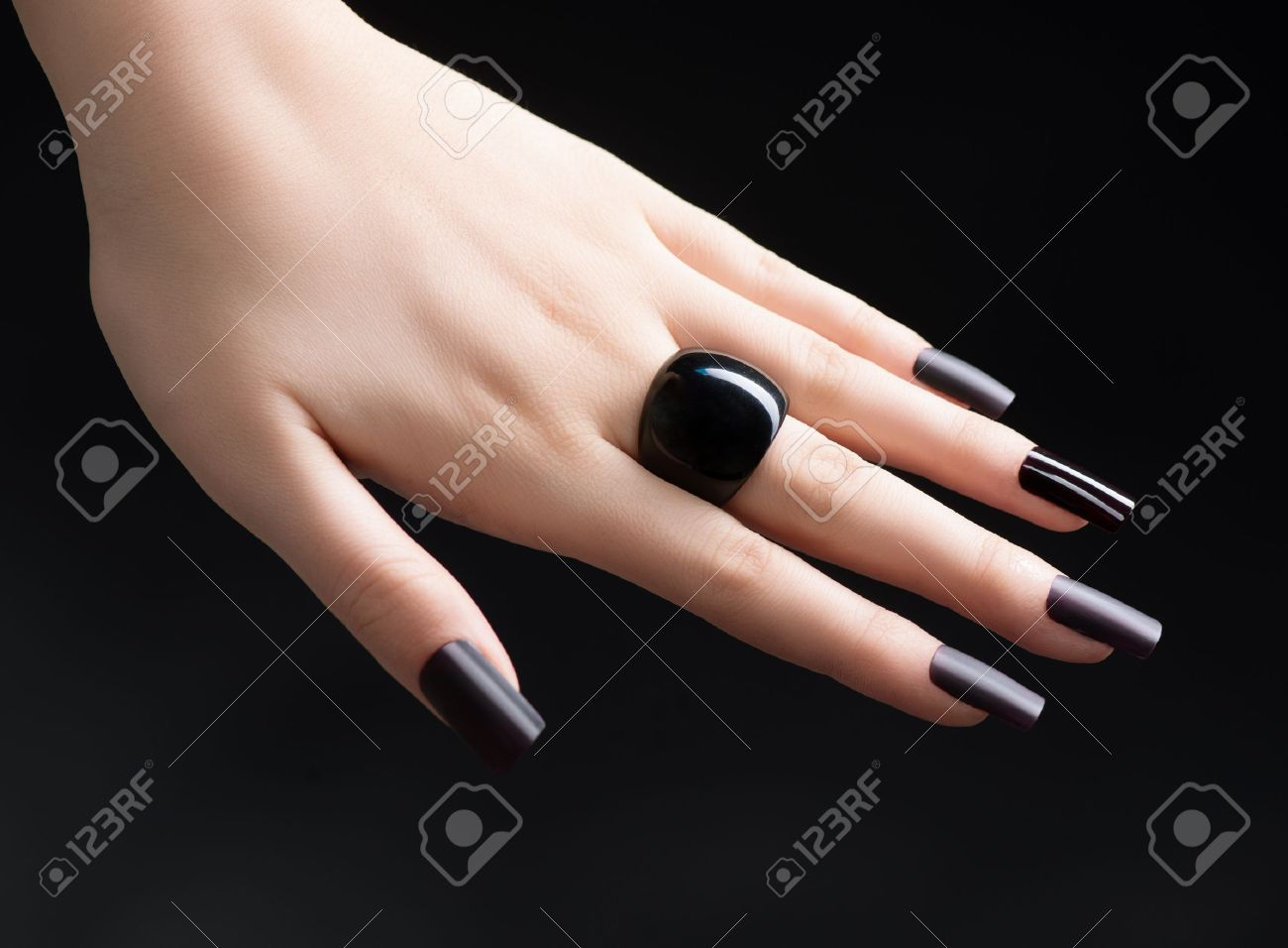 Manicured Nail With Black Matte Nail Polish Fashion Manicure Stock