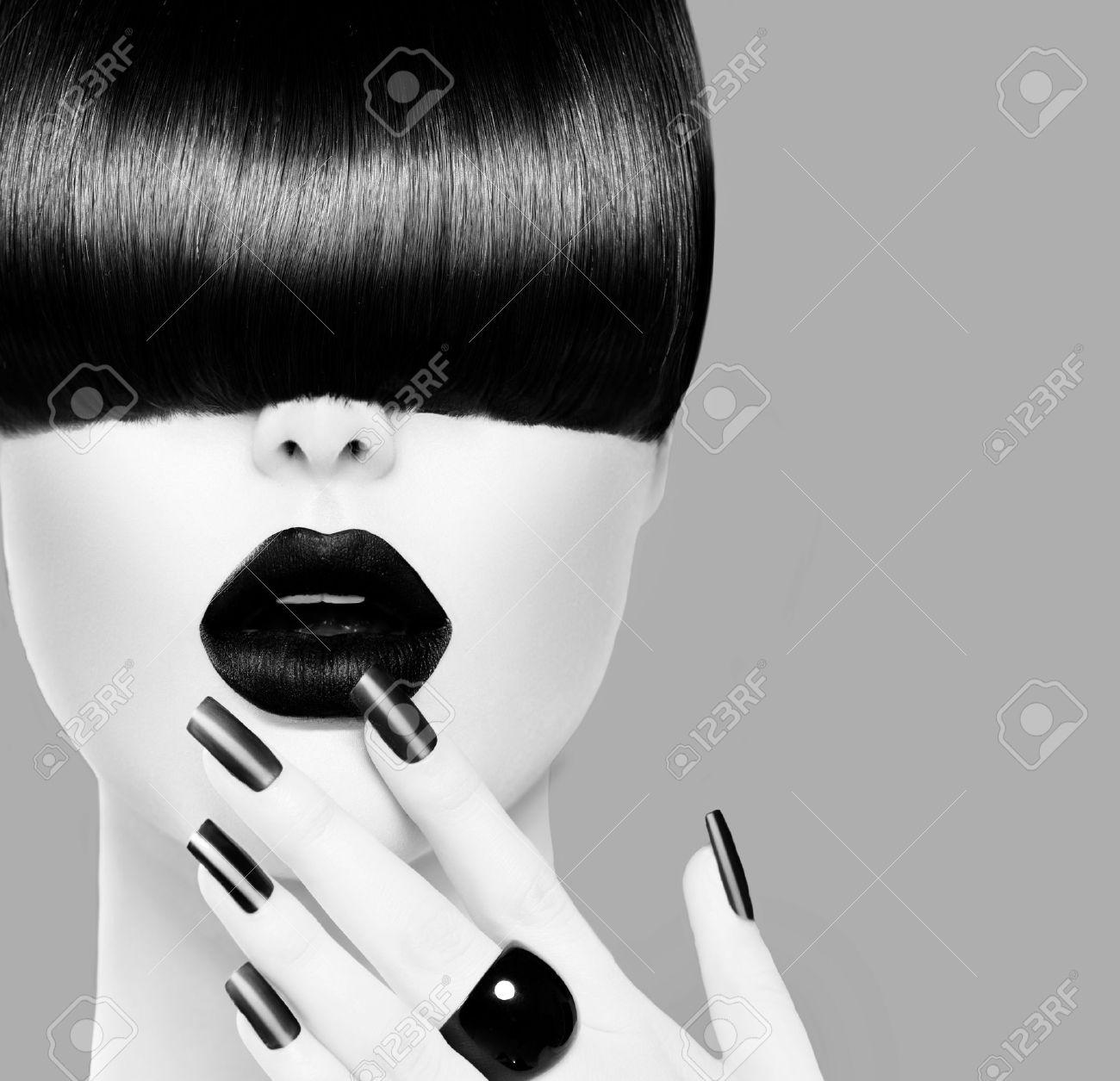 High Fashion Black and White Model Girl Portrait Stock Photo - 25059949