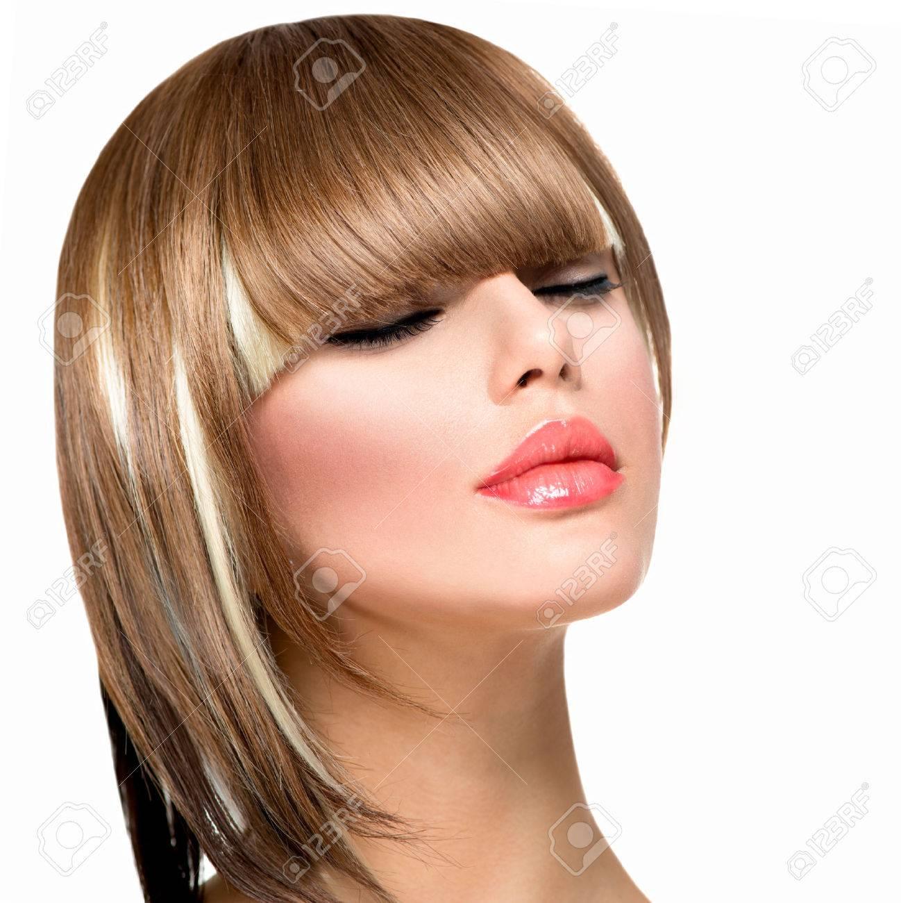 Beautiful Fashion Woman Hairstyle For Short Hair Fringe Haircut ...
