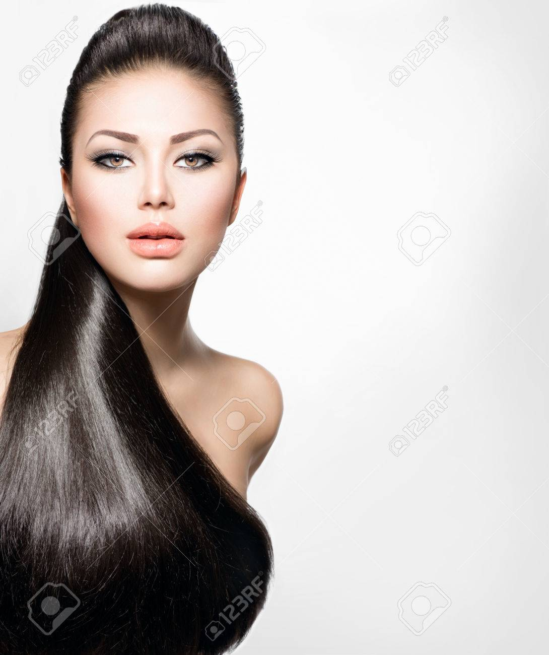 Fashion Model Girl with Long Healthy Straight Hair Stock Photo - 25444143