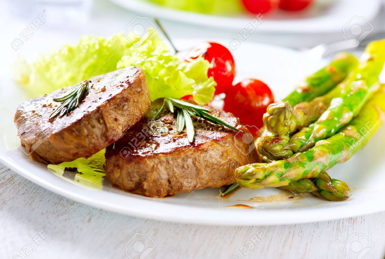 Grilled Beef Steak Meat With Asparagus And Cherry Tomato Stock Photo 25594229