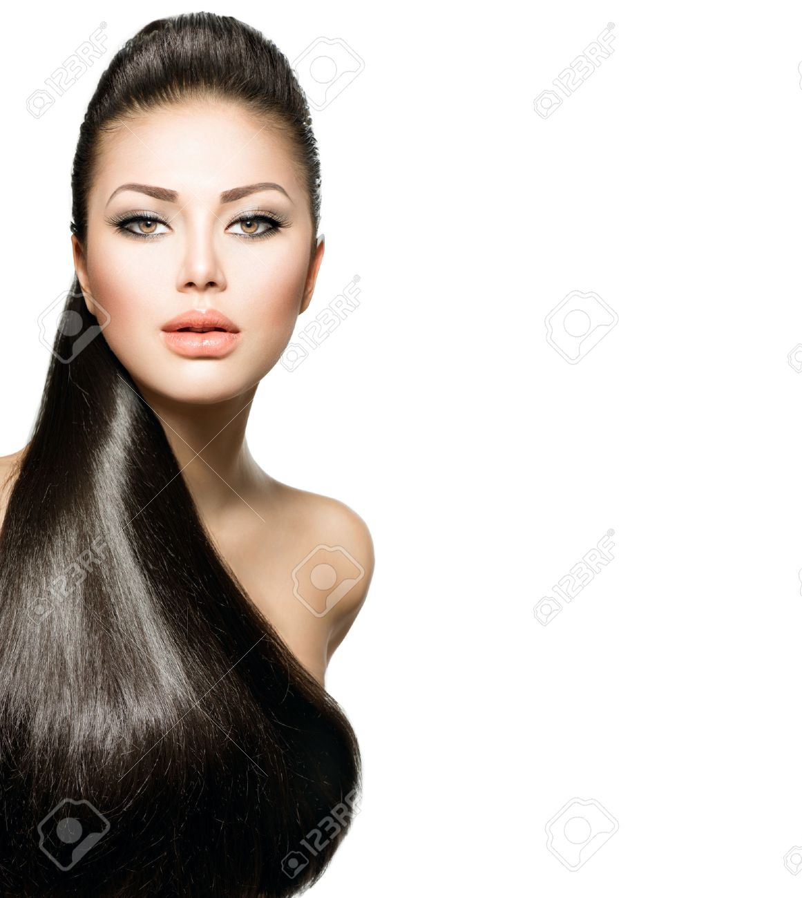 Fashion Model Girl with Long Healthy Straight Hair Stock Photo - 25594304