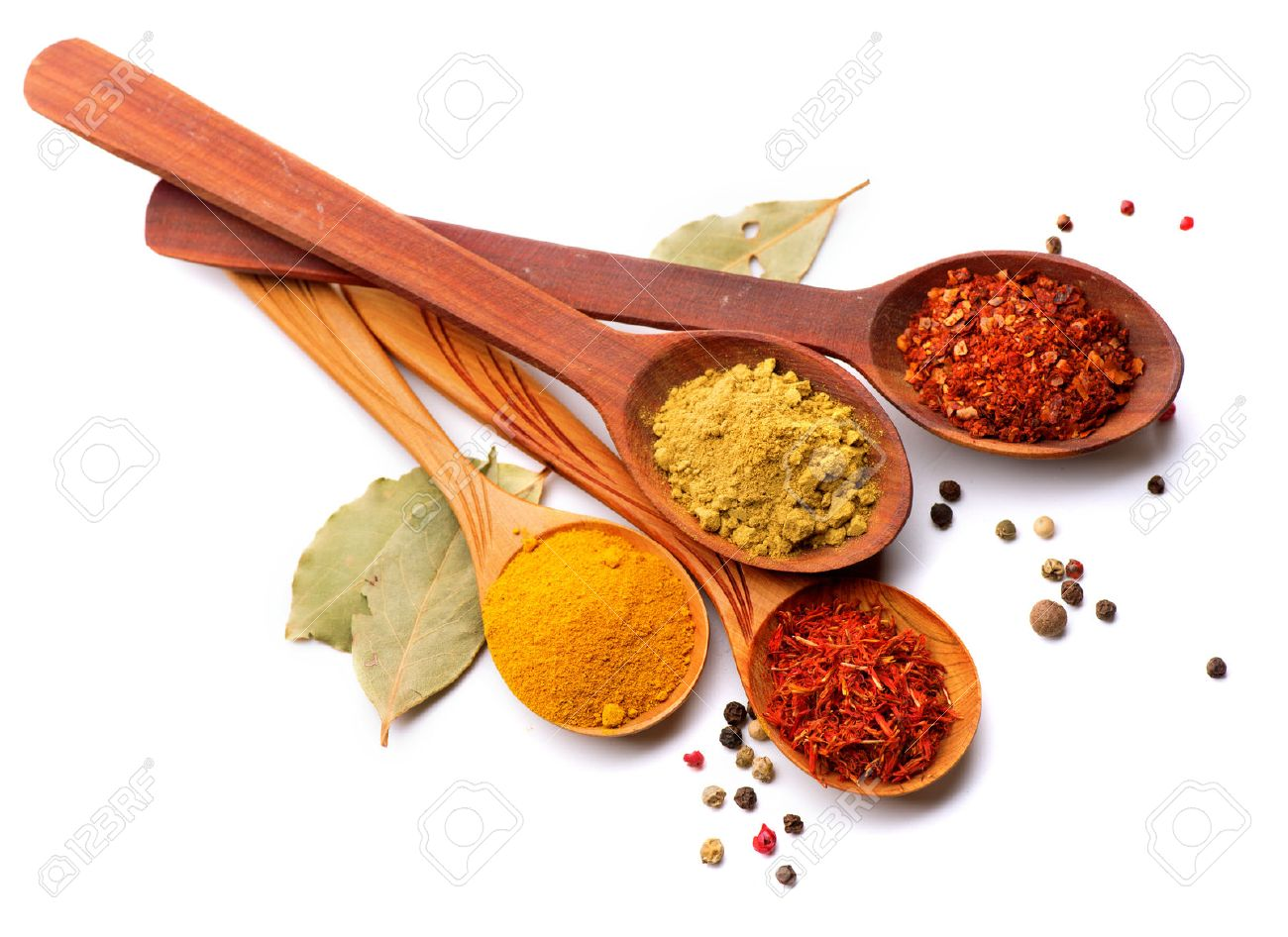 Spices and herbs Curry, saffron, turmeric, cinnamon over white - 26932367