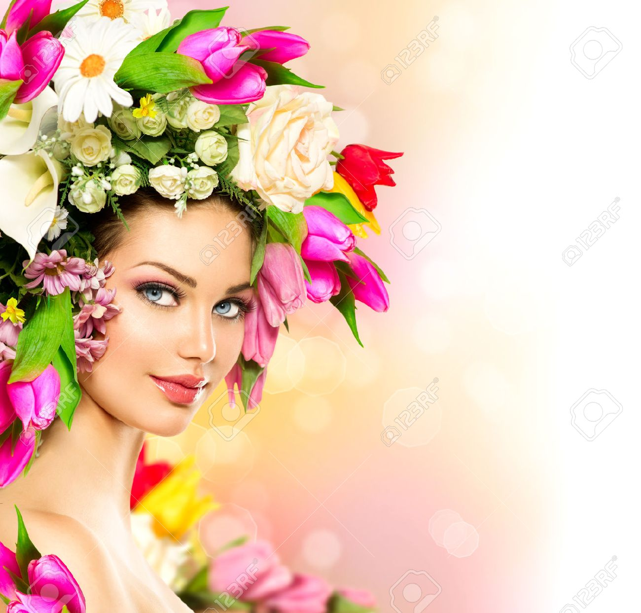 Uncategorized Model Flower beauty summer model girl with colorful flowers hairstyle stock photo 27396581