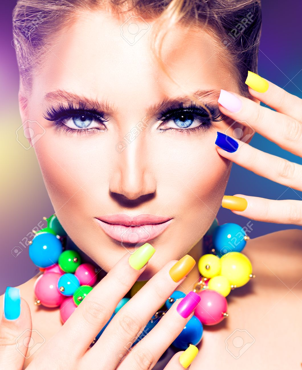 Fashion Beauty Model Girl With Colorful Nails Stock Photo, Picture ...