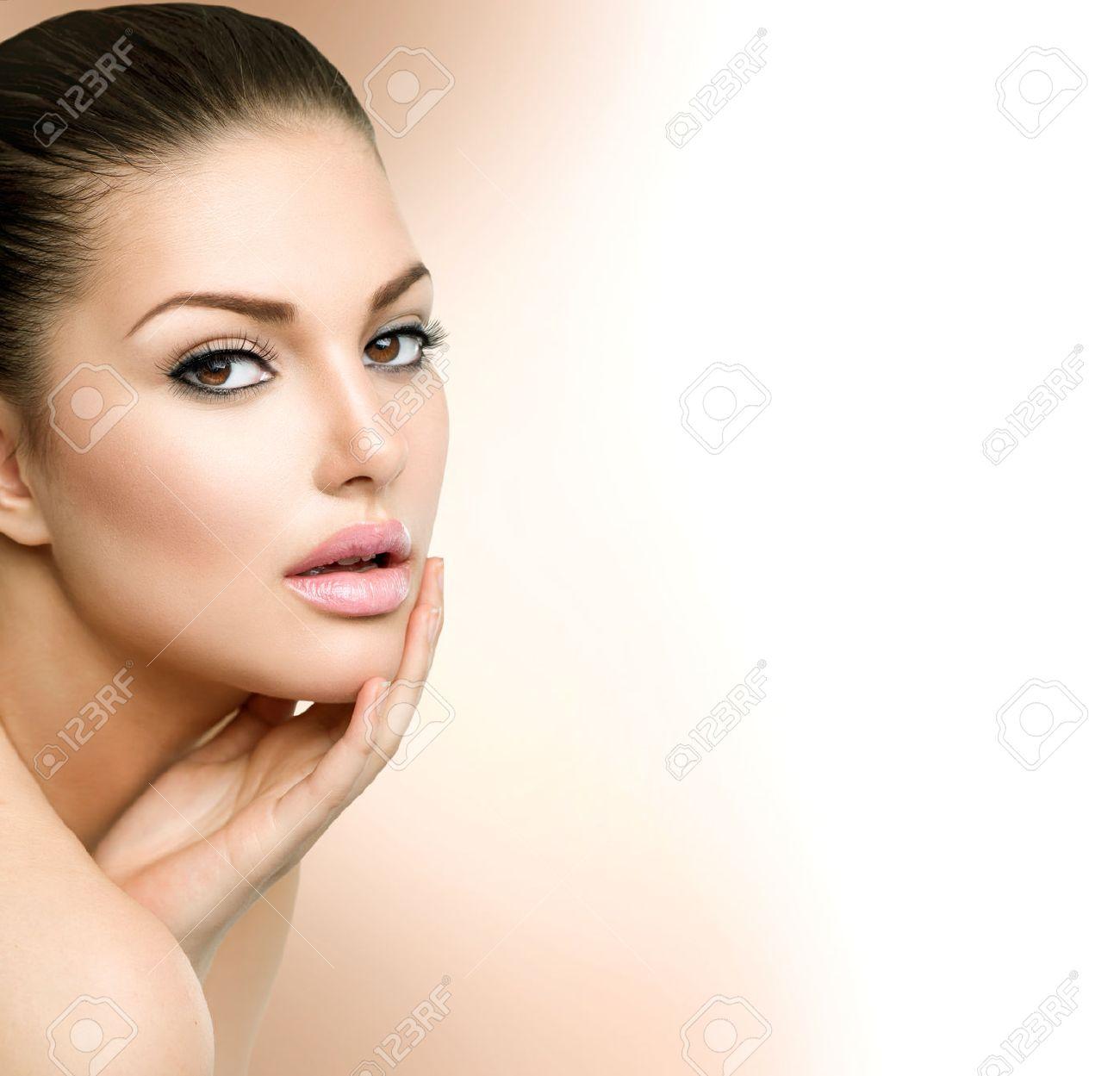 Beauty Spa Woman Portrait  Beautiful Girl Touching her Face Stock Photo - 28867921