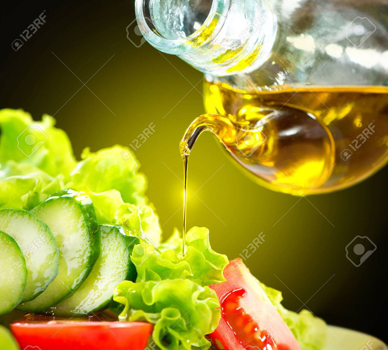 Healthy Vegetable Salad with Olive Oil Dressing - 28851211