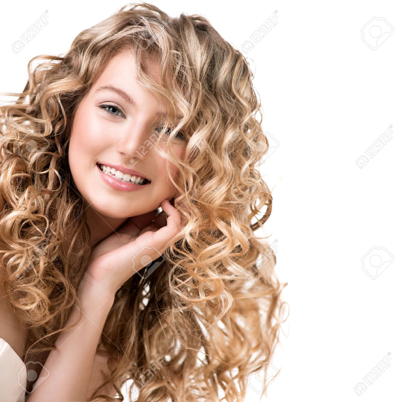 Beauty Girl With Blonde Curly Hair Long Permed Hair Stock Photo
