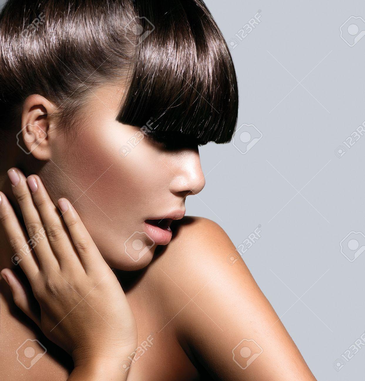Fashion Model Girl With Trendy Hairstyle Haircut Stock Photo - Haircut girl model