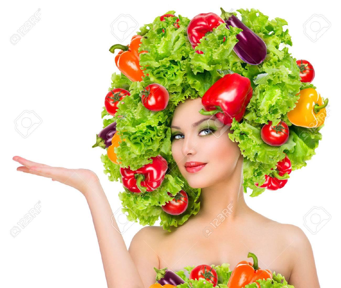 野菜髪型ダイエット概念と美しさの少女 写真素材 , 29660568