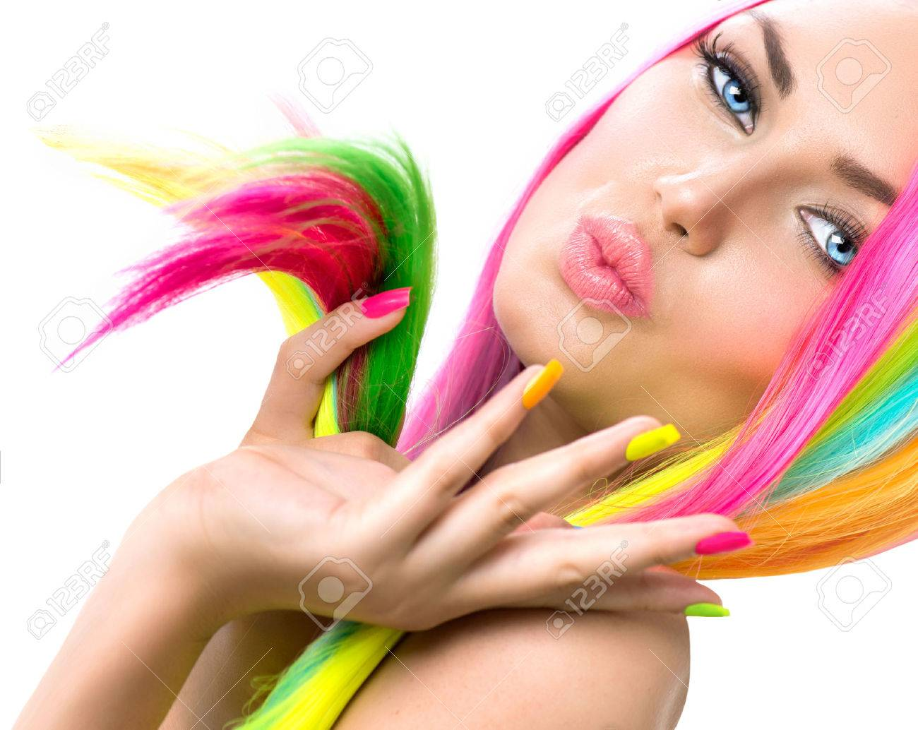 Beauty Girl Portrait with Colorful Makeup, Hair and Nail polish - 29660597