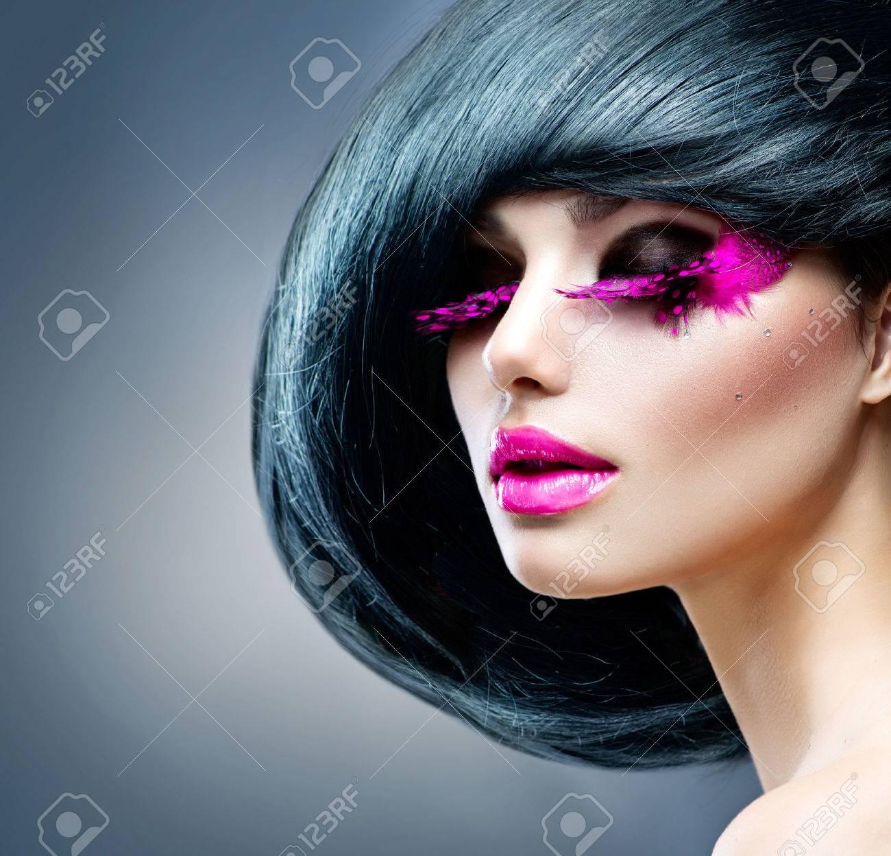 Fashion Brunette Model Portrait Hairstyle Professional Makeup ...