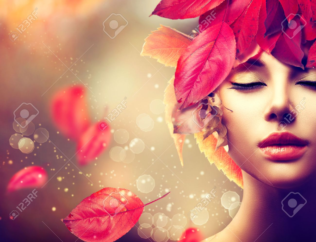 Autumn Woman. Fall. Girl with colourful autumn leaves hairstyle - 31807508