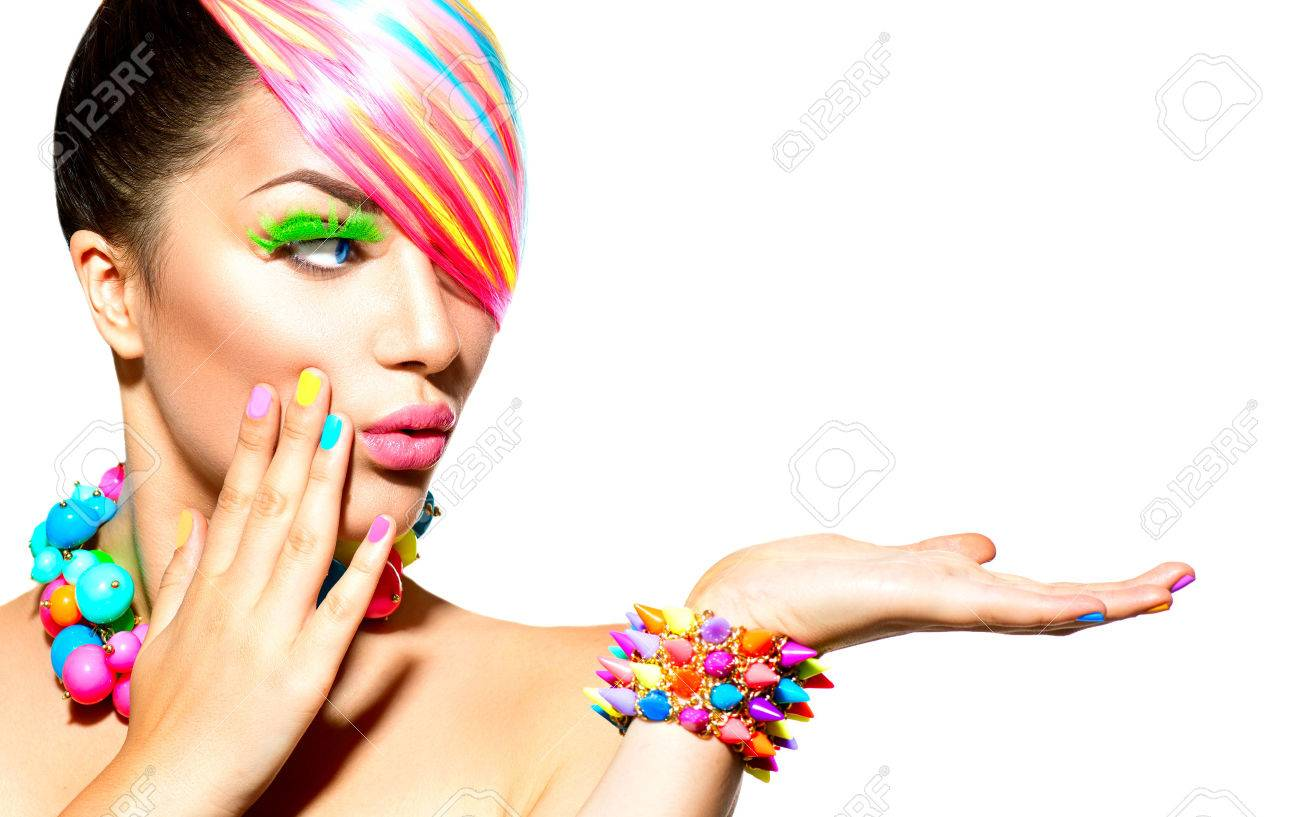 Beauty Woman Portrait with Colorful Makeup, Hair and Accessories Stock Photo - 32267210