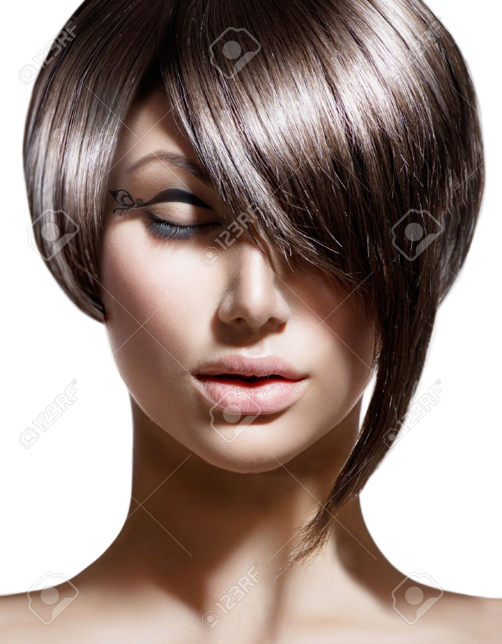 Fashion Haircut Hairstyle Stylish Fringe Stock Photo Picture And