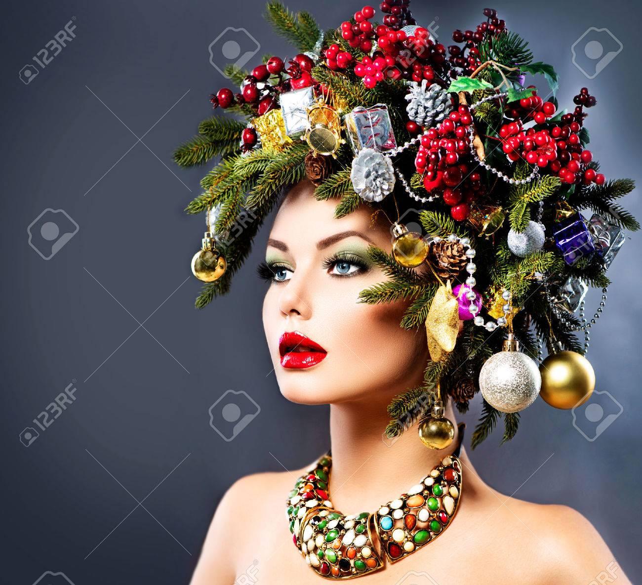 Weihnachten Winter Frau Schoner Weihnachtsfeiertag Frisur