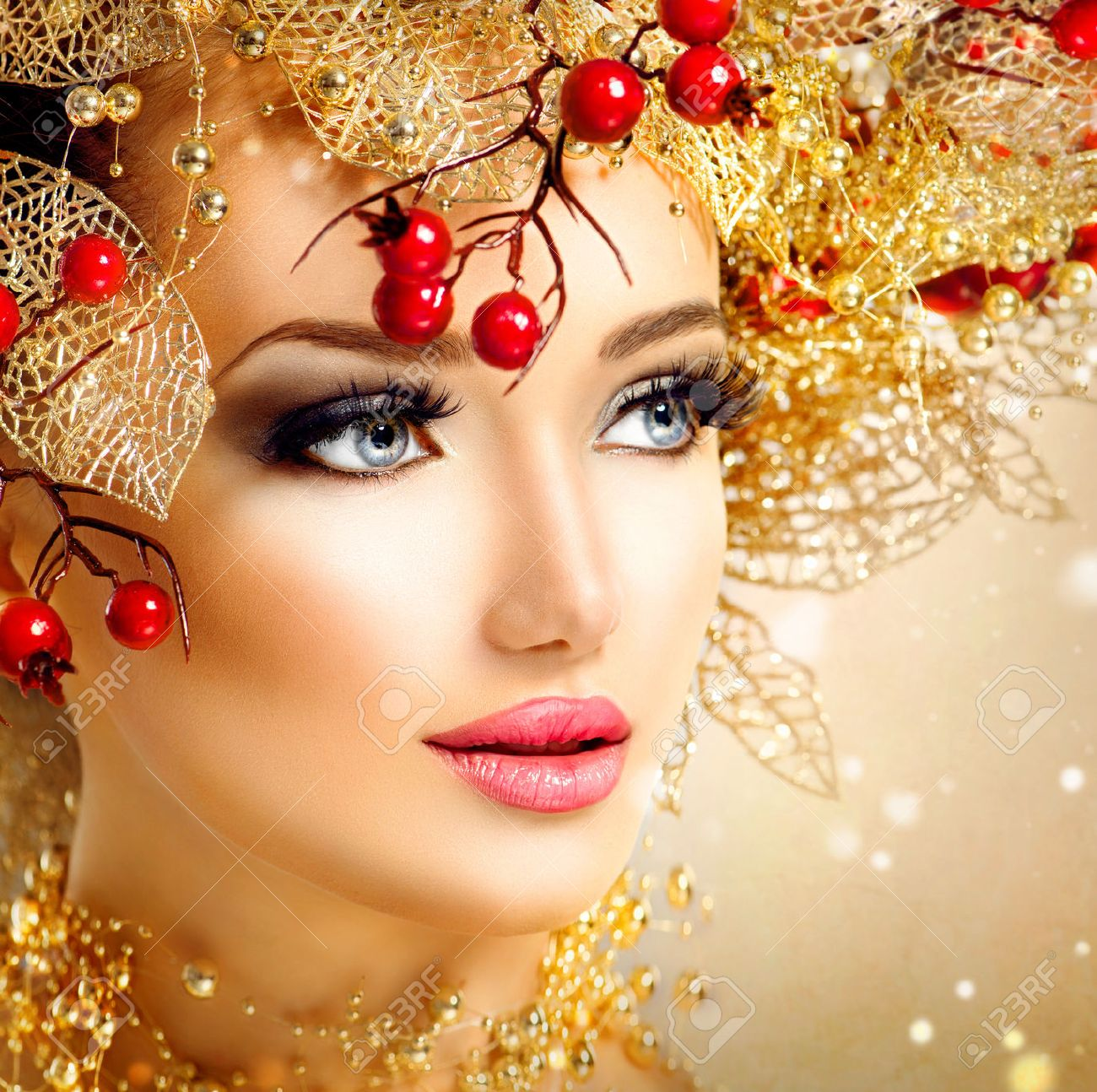 Christmas Fashion Model Girl With Golden Hairstyle And Makeup Stock Photo Picture And Royalty Free Image Image 33708772