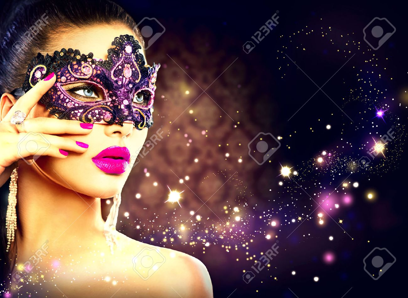 0464cd2fbad1 Sexy woman wearing carnival mask over holiday dark background Stock Photo -  34051310