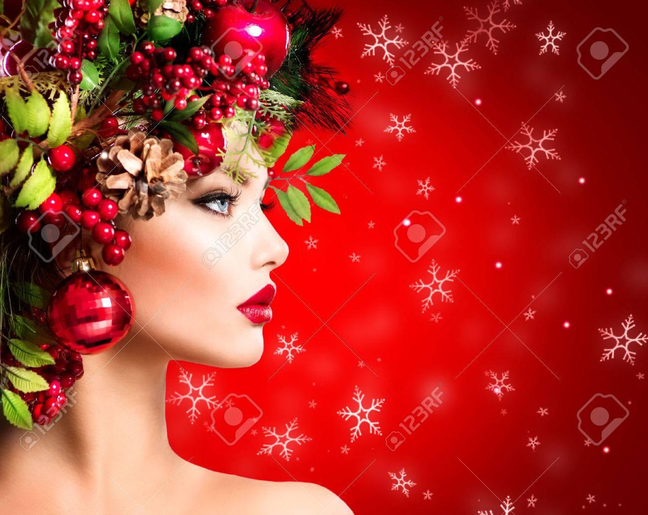 Christmas Winter Woman. Beautiful Christmas Holiday Hairstyle ...