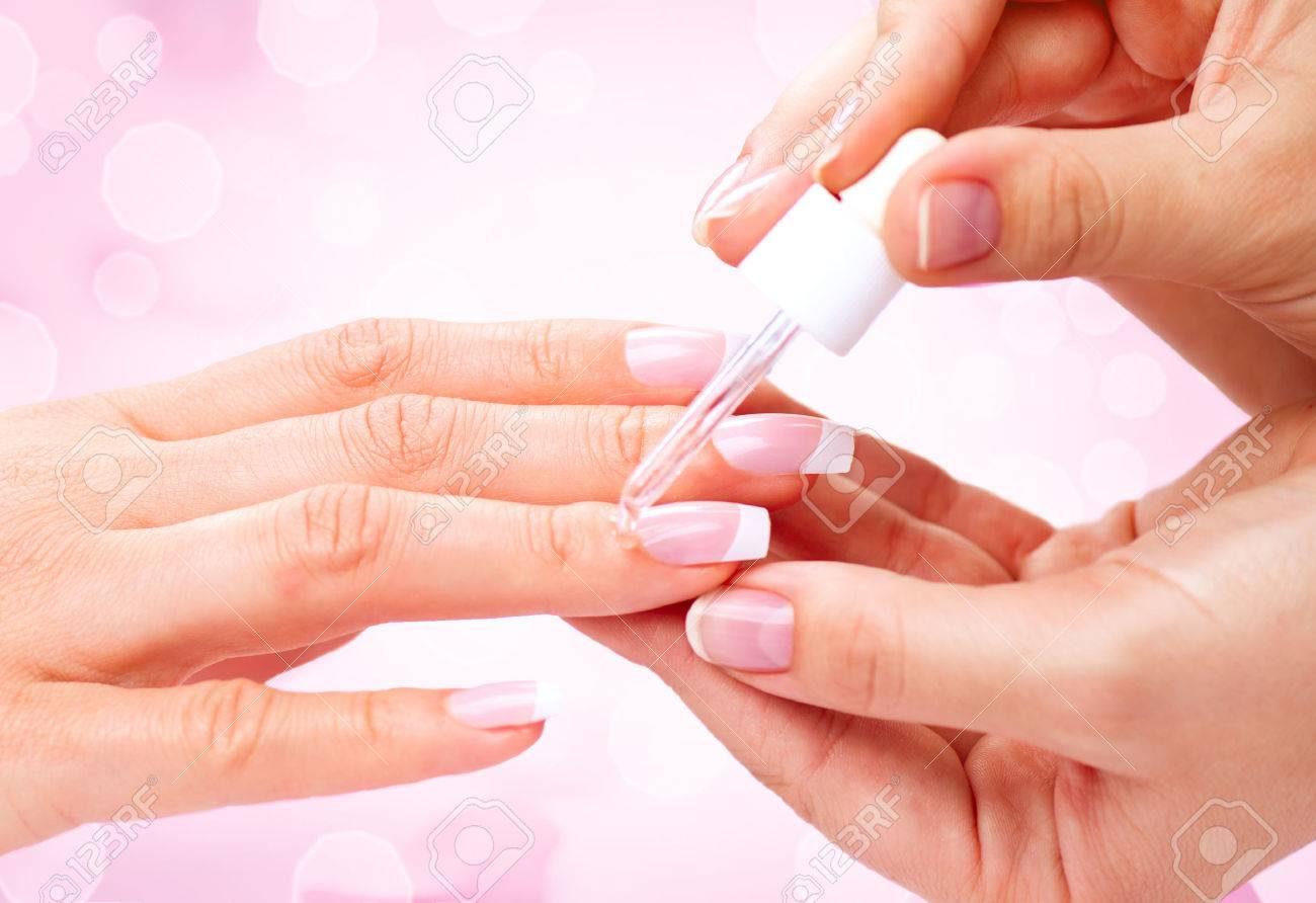 Manicure, Hands Spa Cuticle Oil. Beautiful Woman Hands Closeup Stock ...