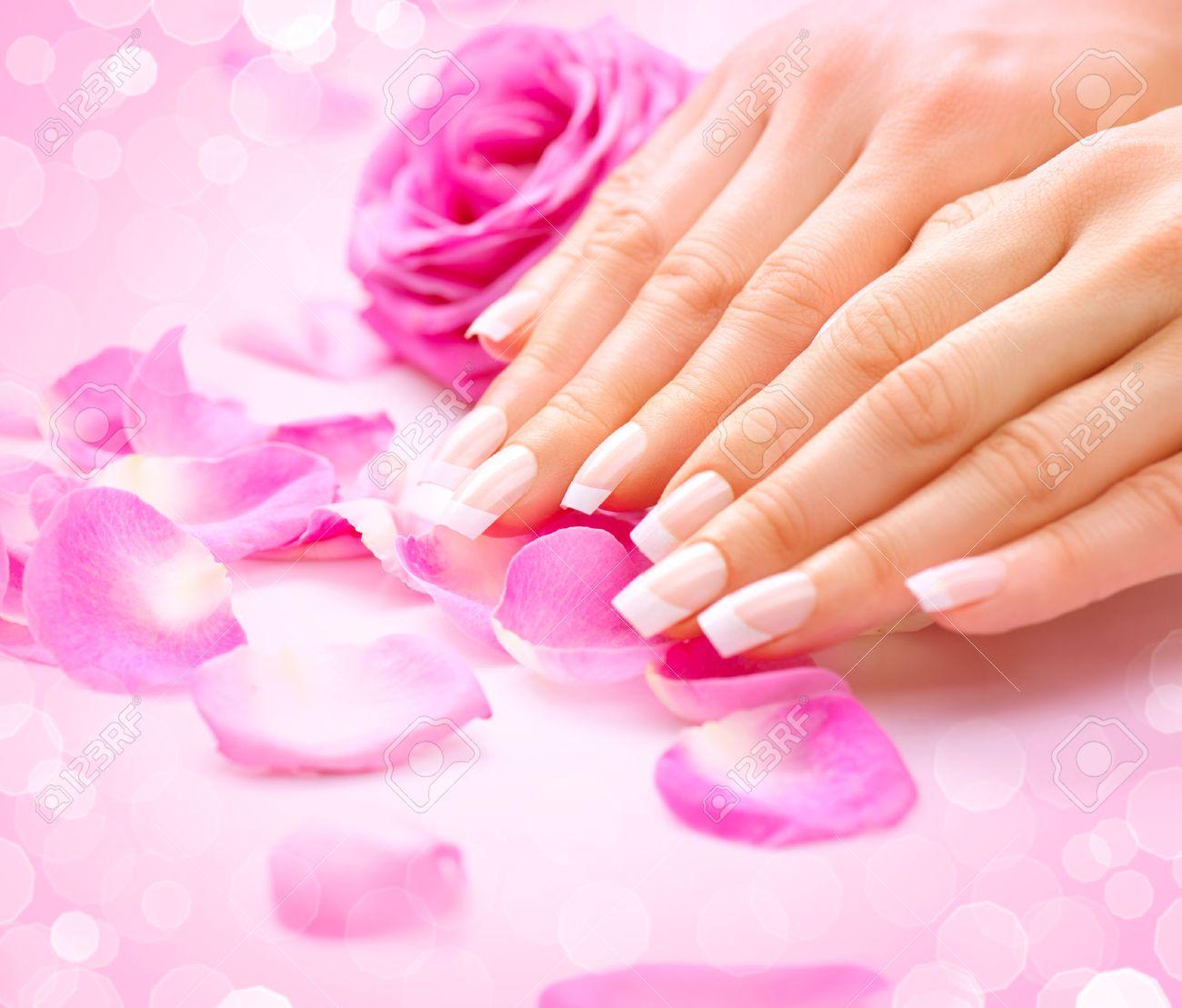 Manicure, Hands Spa. Female Hands, Soft Skin, Beautiful Nails Stock ...