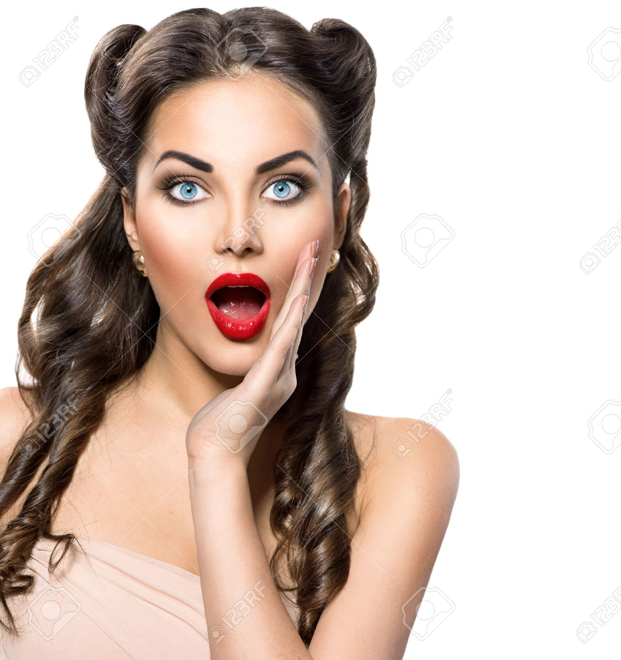 surprised retro woman beauty vintage excited girl over white stock