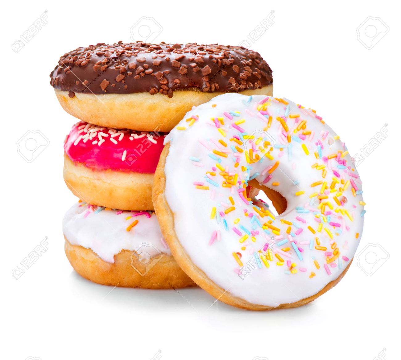 donuts isolated on white background tasty glazed donuts closeup