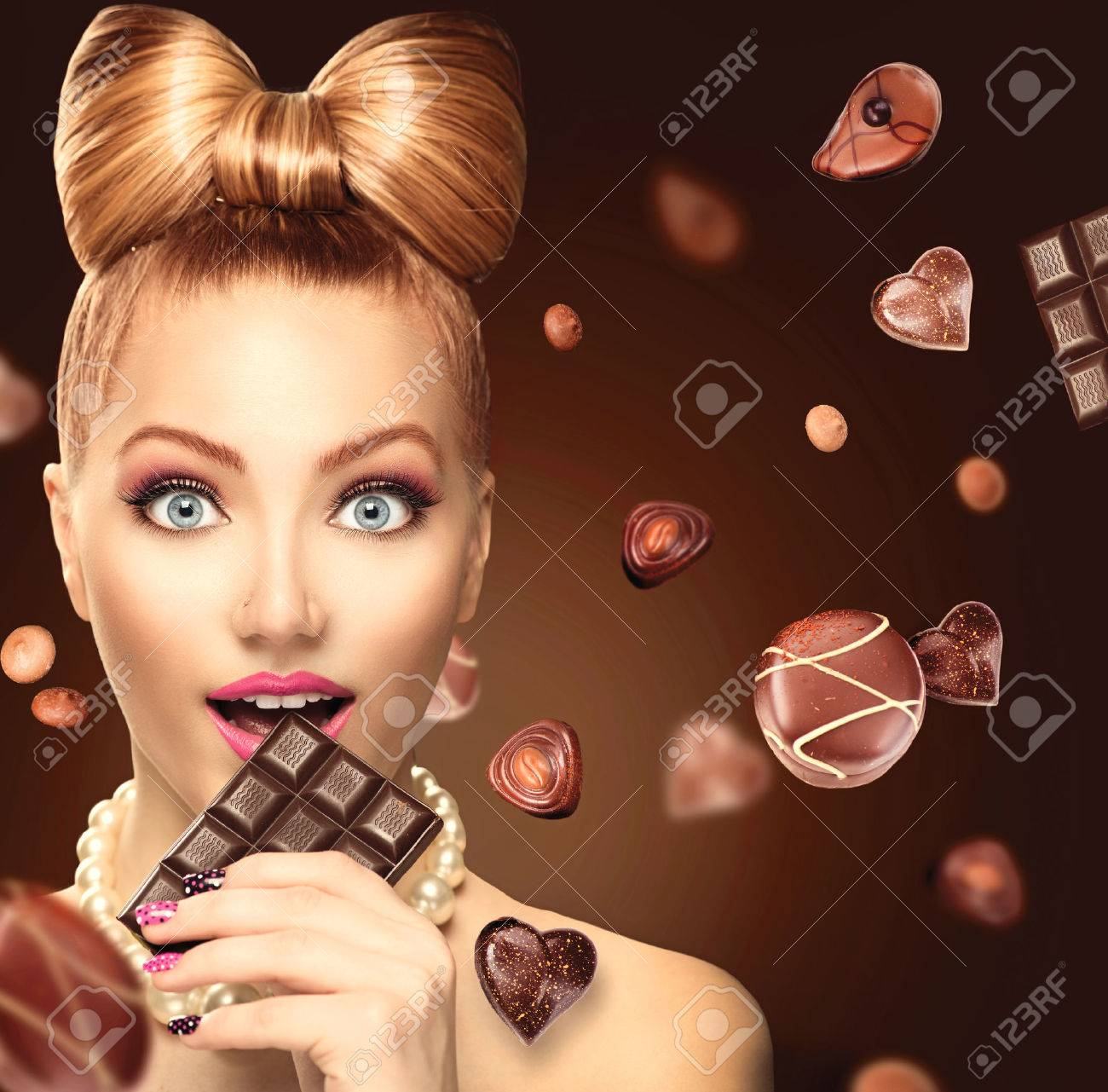 Beauty Fashion Model Girl Eating Chocolate Stock Photo, Picture ...