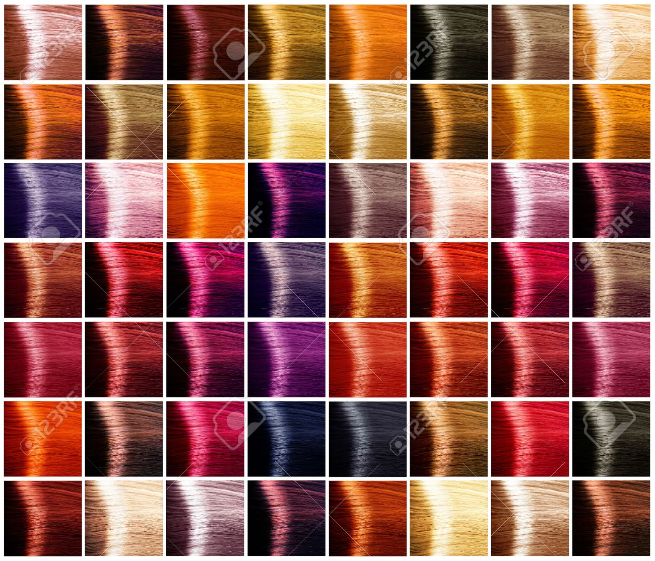 Hair Colors Palette Tints Dyed Hair Color Sample Stock Photo