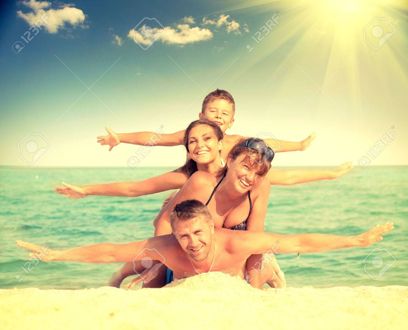 Family Beach Pictures Family Beach Fun Stock Photos Pictures Royalty Free Family