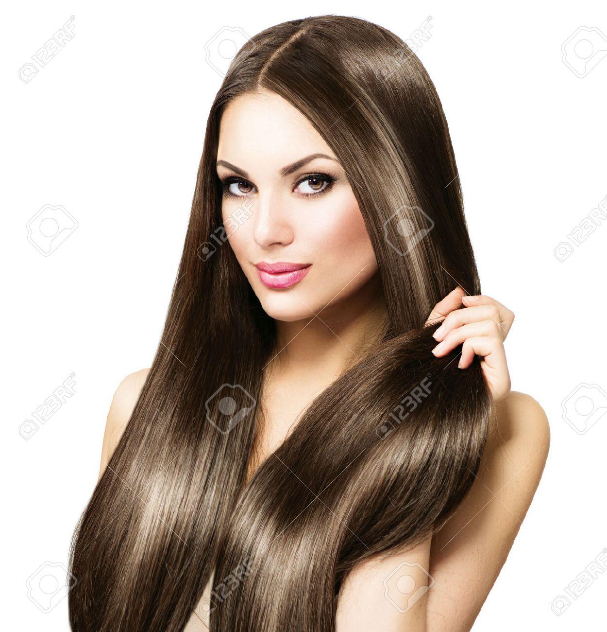 Schöne Brünette Frau Zu Berühren Ihr Langes Glänzendes Glattes Haar