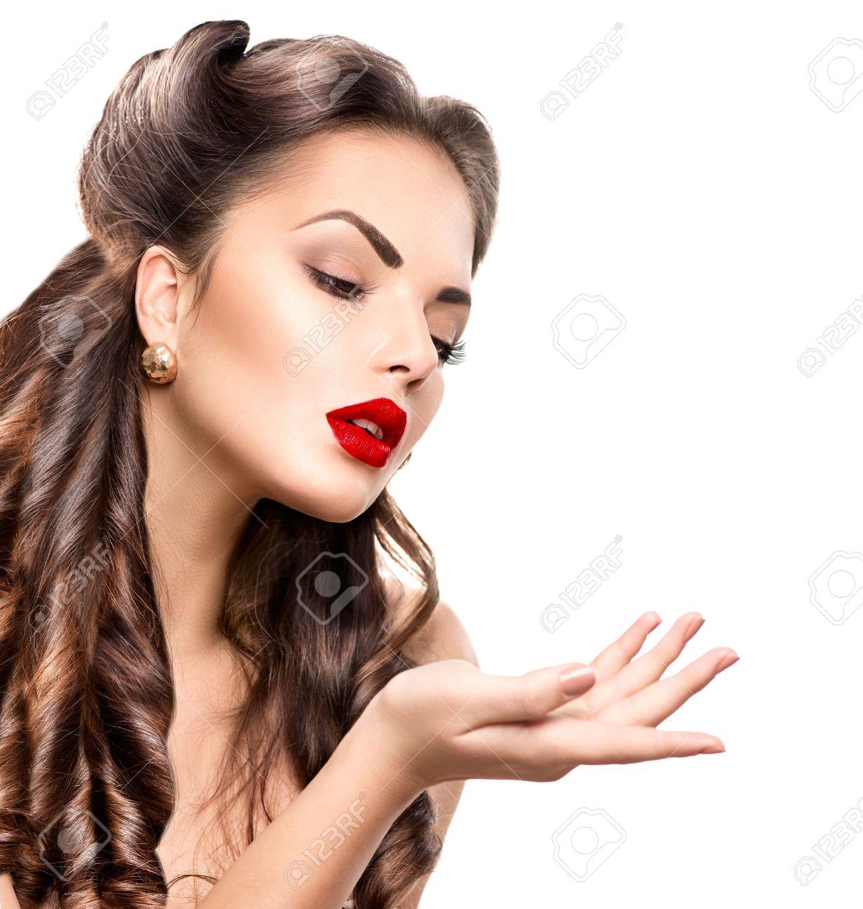 Retro woman portrait beauty girl showing empty copy space stock photo 41225421