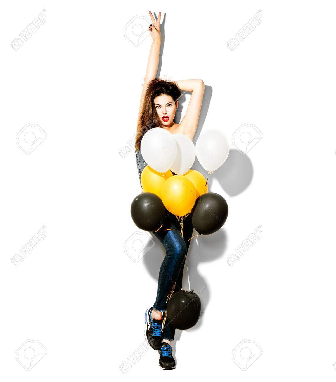 Full length portrait of beauty fashion model girl with colorful balloons Stock Photo - 42872788