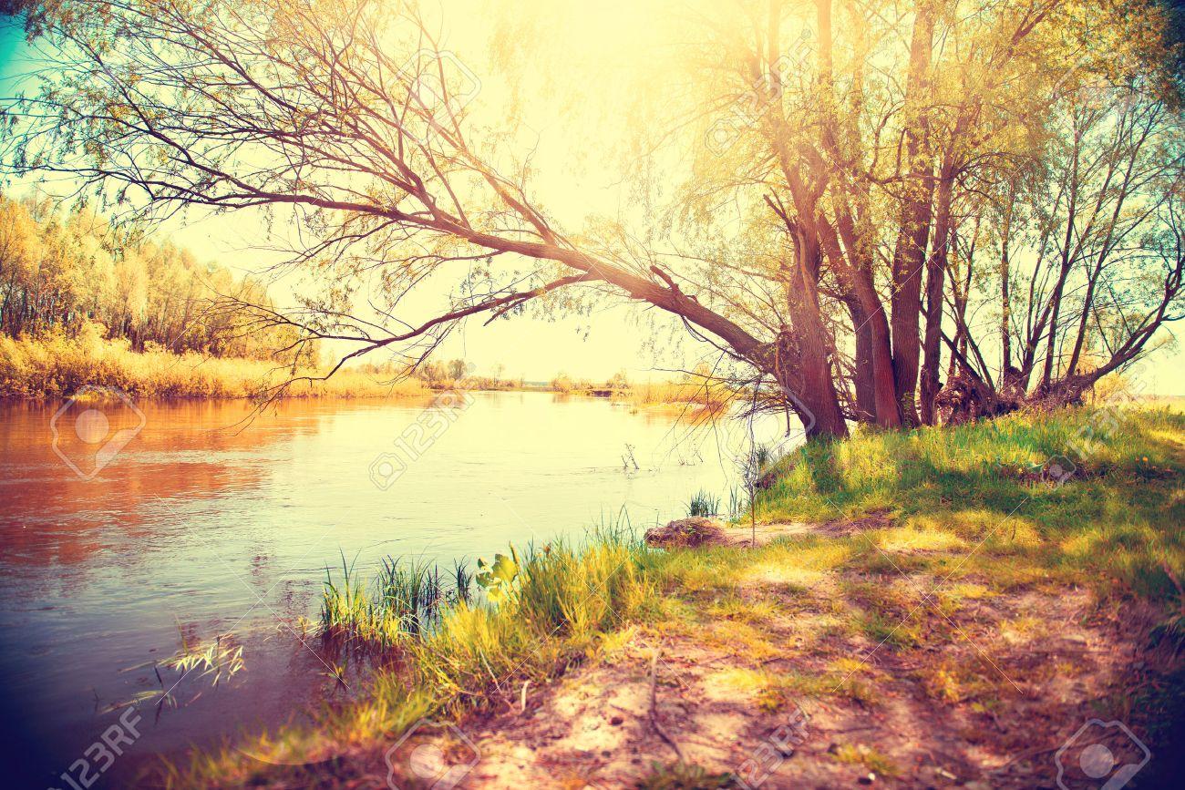Autumn landscape with a river. Beautiful scene Stock Photo - 44154767