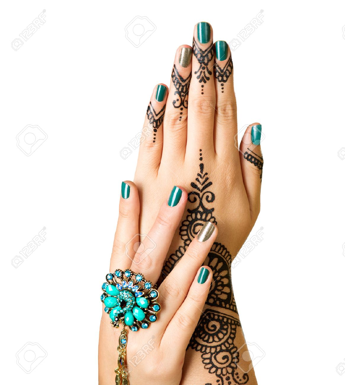 Mehndi Tattoo Isolated On White Woman Hands With Black Henna