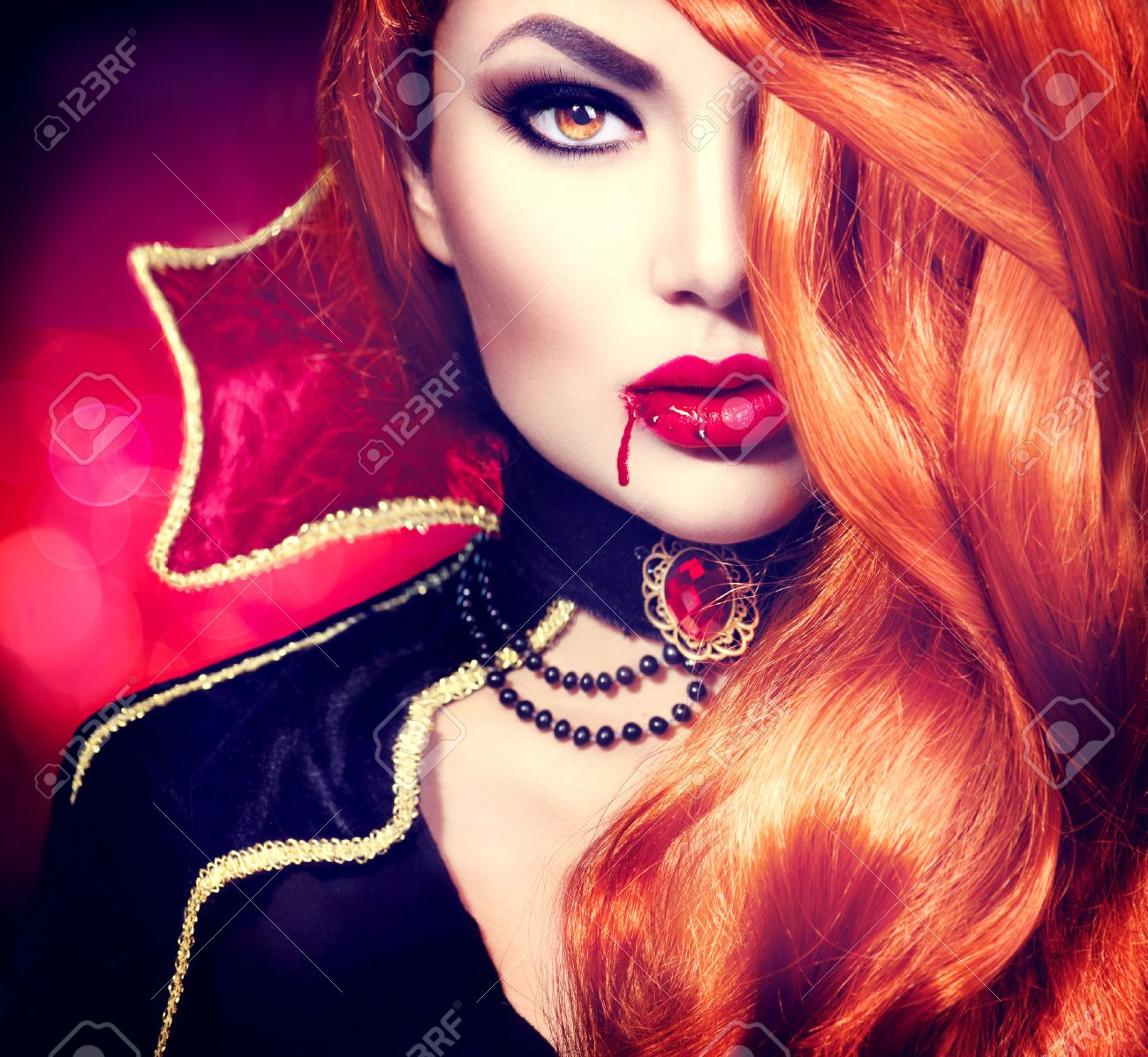 halloween vampire woman portrait. beautiful glamour fashion sexy