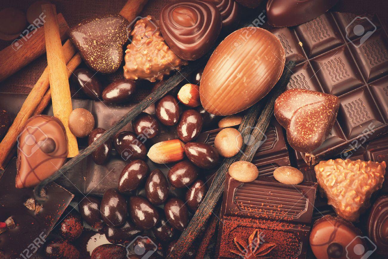 Luxury chocolates background. Praline chocolate sweets Stock Photo - 46445749
