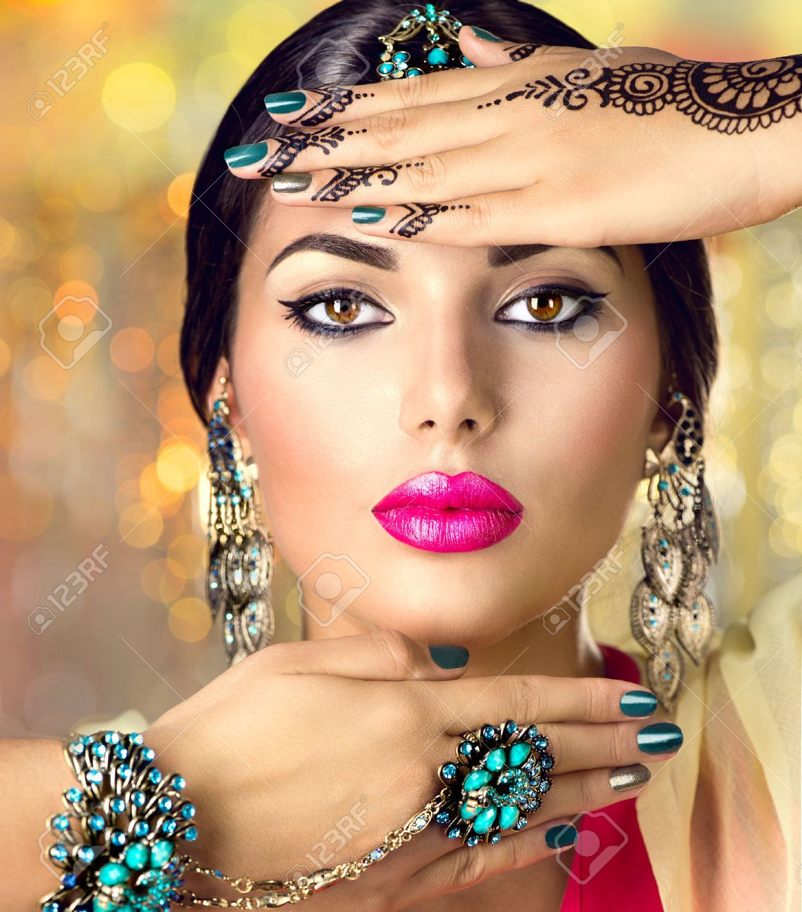 6daab9af7d Beautiful indian woman portrait. Hindu girl with oriental accessories -  earrings, bracelets and rings