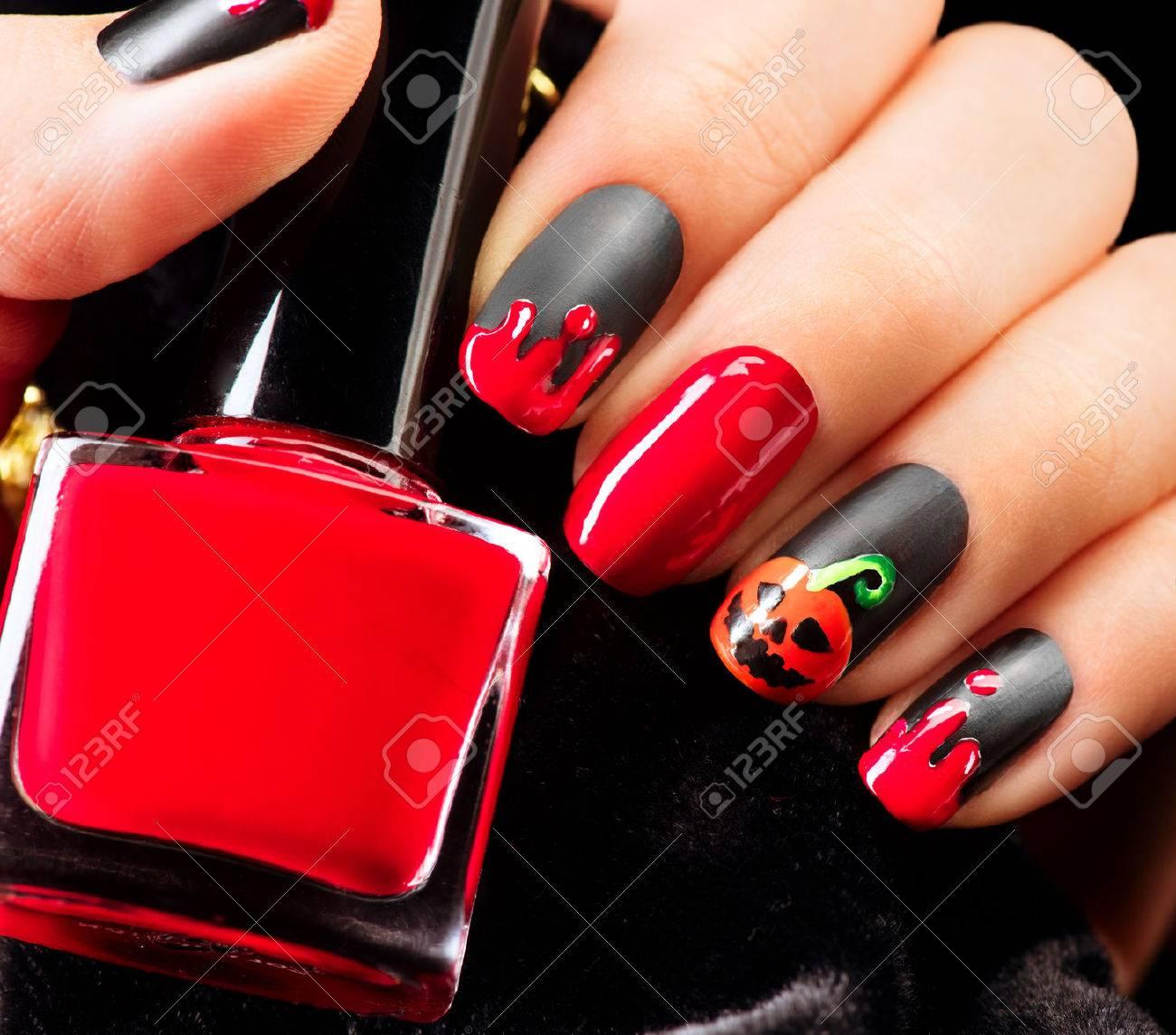 halloween nail art design nail polish stock photo