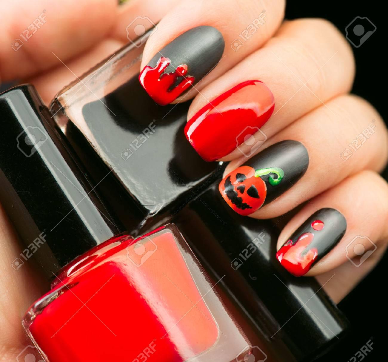 Halloween Nail Art Design. Black Matte Nailpolish With Blood.. Stock ...