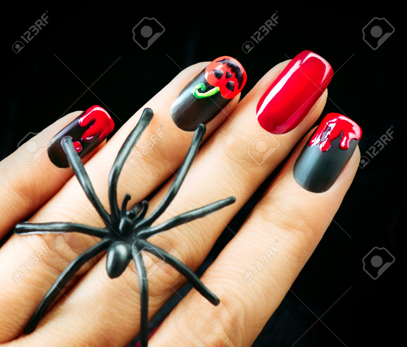 Halloween Nail Art Design. Black Matte Polish With Blood Drips ...