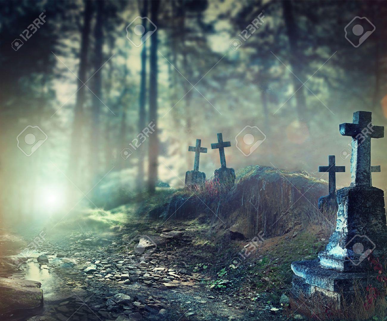halloween art design background foggy graveyard stock photo