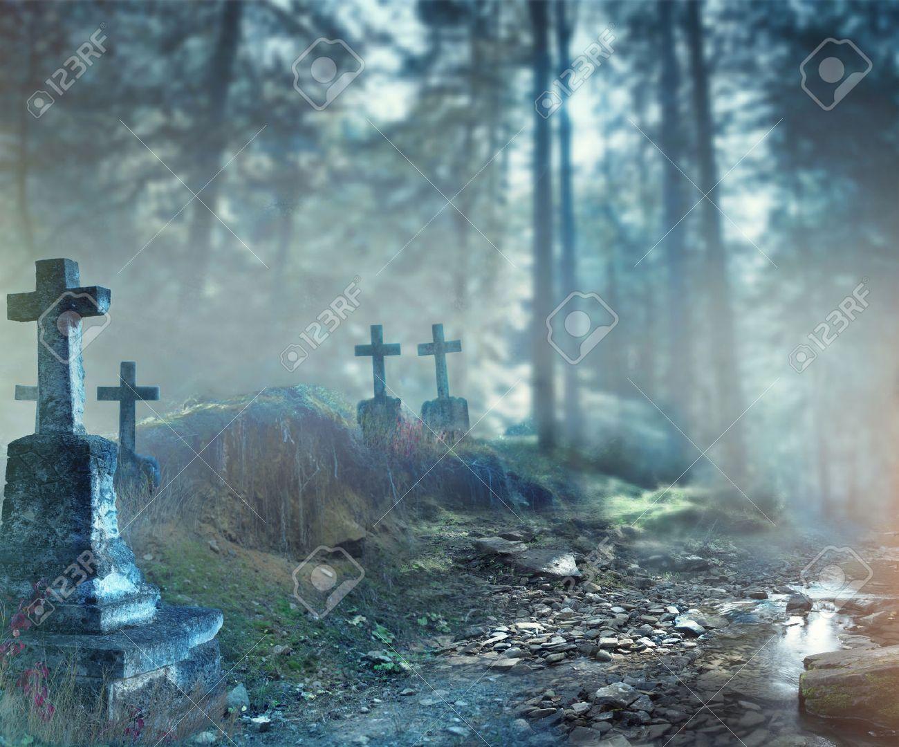 Halloween Art Design Background Foggy Graveyard At Night