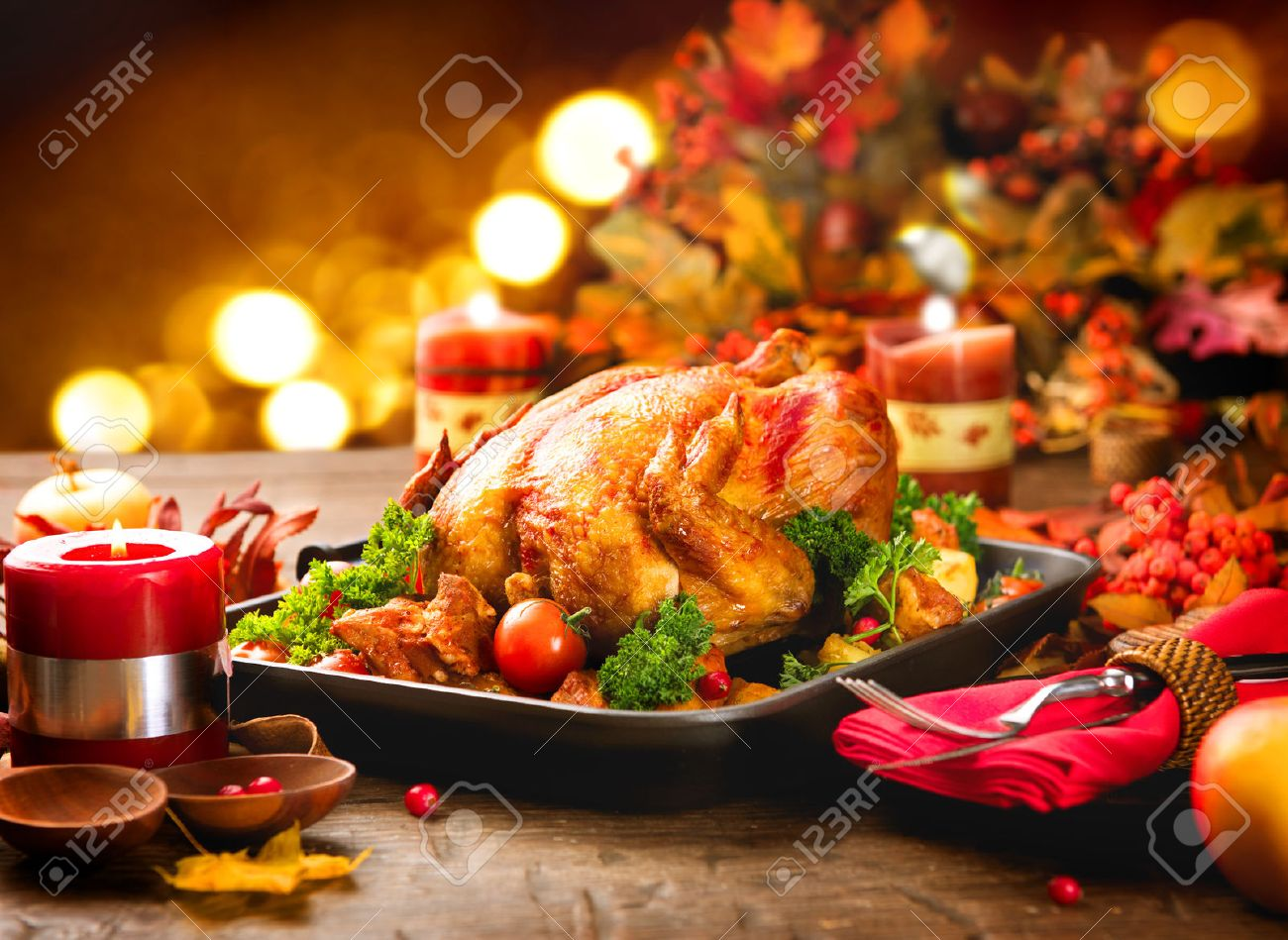 Dinner table with food - Dinner Food Thanksgiving Dinner Table Served With Turkey Decorated With Bright Autumn Leaves