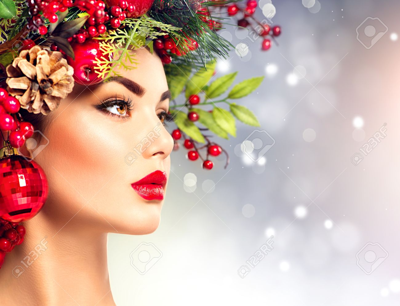 Christmas Fashion Model Woman Holiday Hairstyle And Makeup Stock Photo Picture And Royalty Free Image Image 48483472