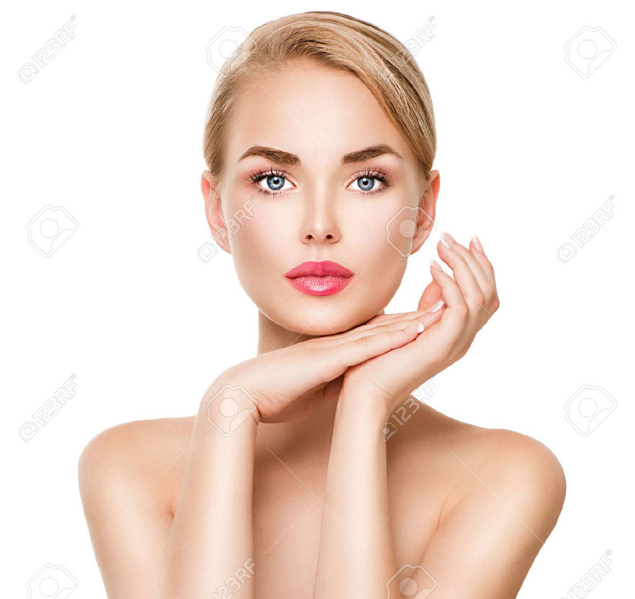 Beauty spa young woman portrait isolated on white stock photo 48843016