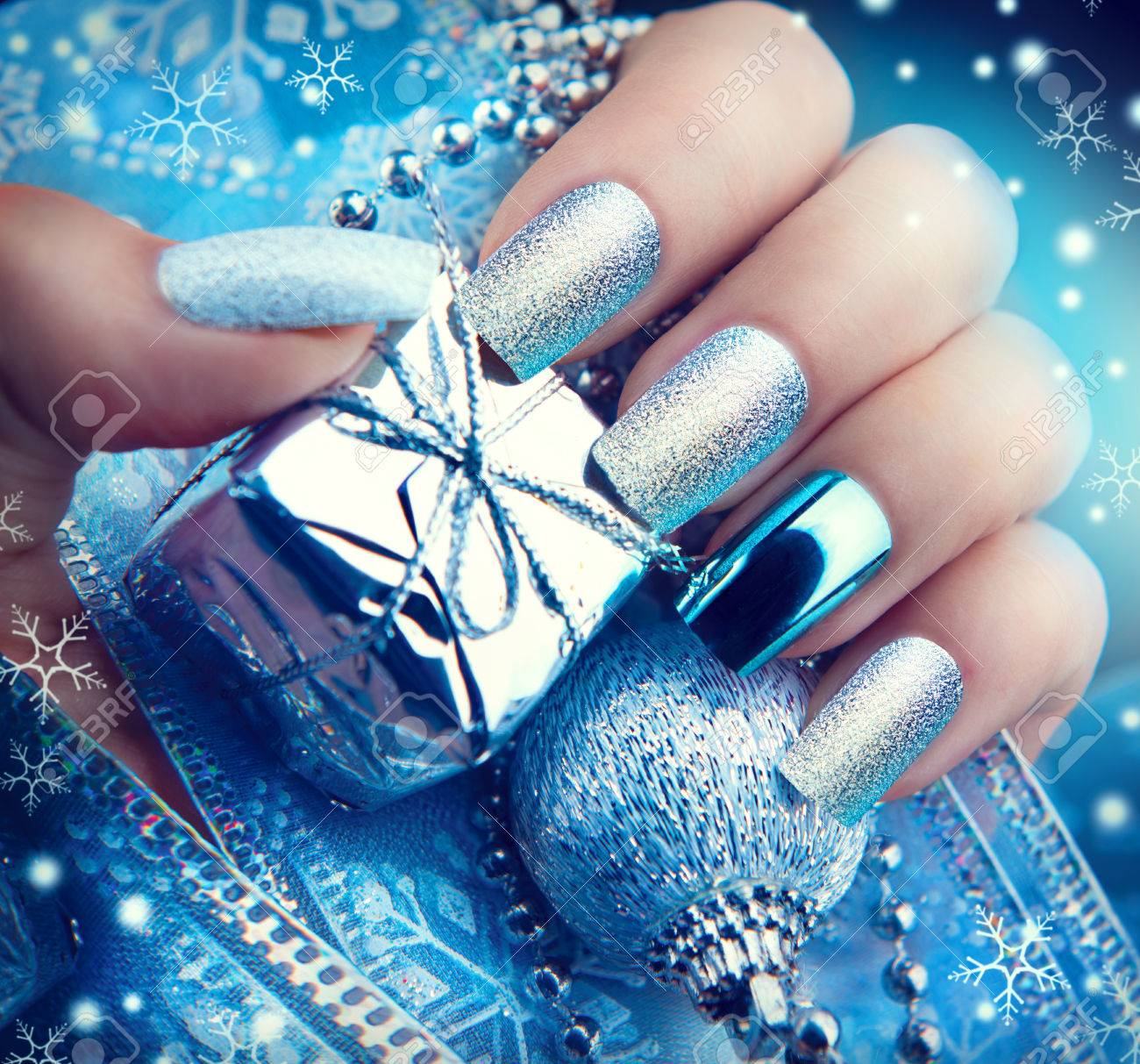 Christmas Nail Art Manicure Winter Holiday Style Bright Design Stock Photo