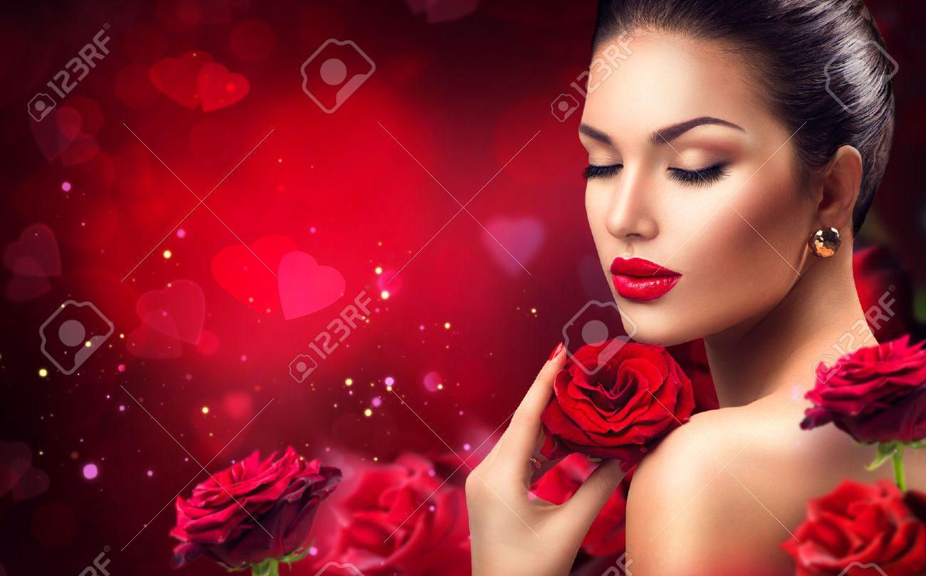 Beautiful Model Woman Rose Flower In Hair Beauty Salon Makeup ...